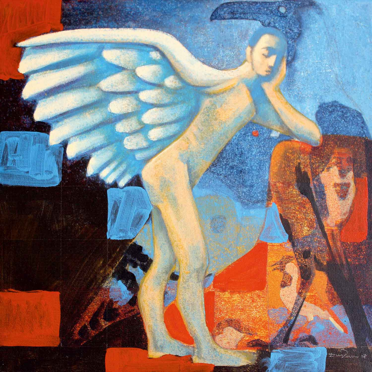 "Figurative Painting with Acrylic on Canvas ""Dream of Wings"" art by Dnyaneshwar Arun Parbhane"