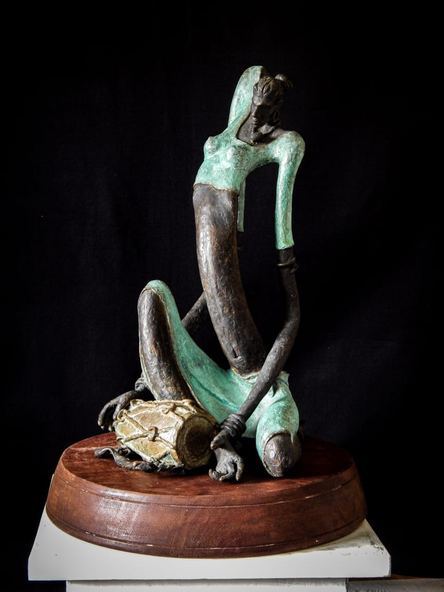 "Figurative Sculpture with Bronze""Musician-2"" art by Prabir Roy"
