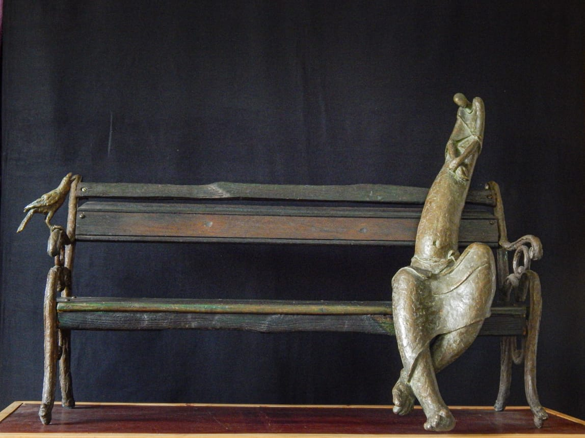 "Figurative Sculpture with Bronze""Alone"" art by Prabir Roy"