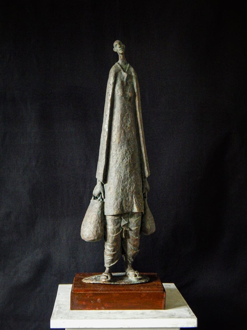 "Figurative Sculpture with Bronze""Retired"" art by Prabir Roy"