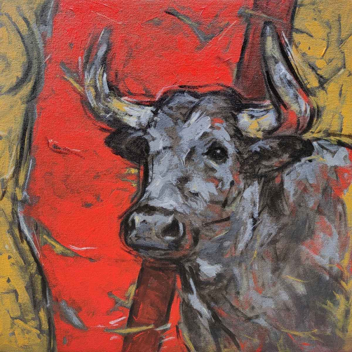 "Figurative Painting with Acrylic on Canvas ""Bull"" art by Santoshkumar Patil"