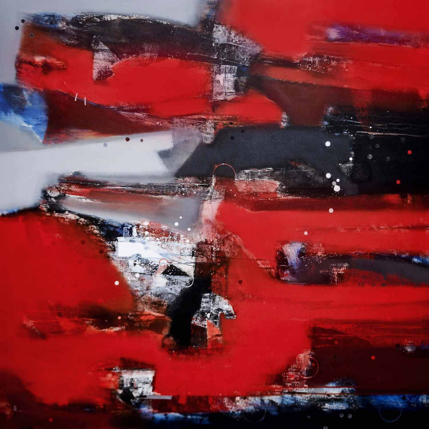 "Abstract Painting with Acrylic on Canvas ""Abstract-12"" art by Sachin Pakhale"