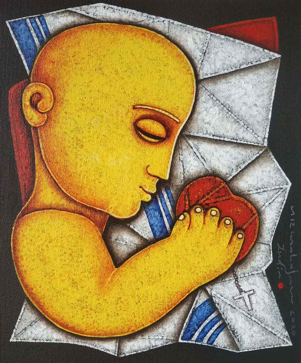 "Figurative Painting with Acrylic on Canvas Board ""Mother and Child"" art by Arvind Rajaram Mahajan"