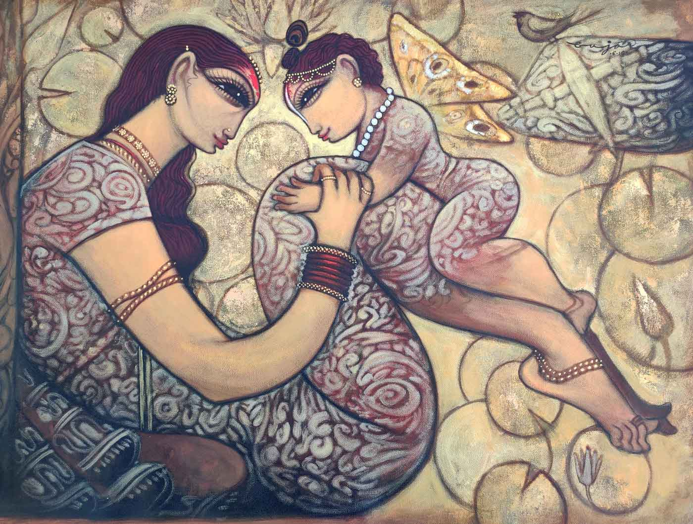 "Figurative Painting with Acrylic on Canvas ""Mother and Child-7"" art by Ramesh P Gujar"