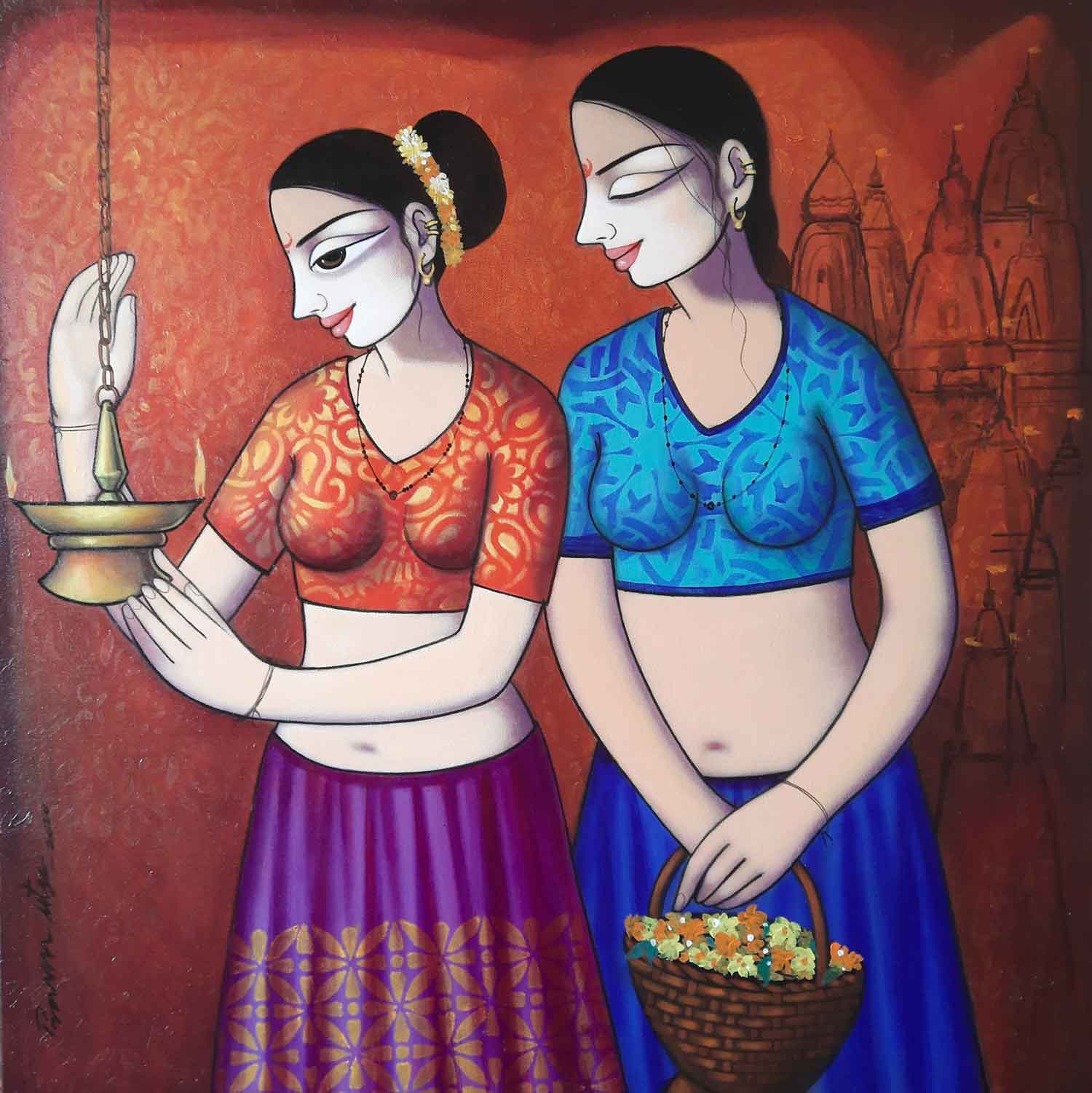 "Figurative Painting with Acrylic on Canvas ""Untitled-1"" art by Pravin Utge"