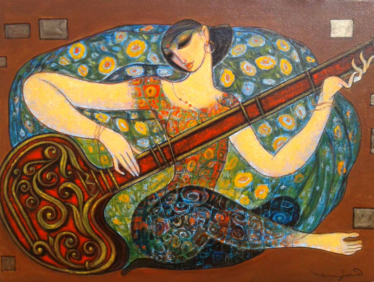 "Figurative Painting with Acrylic on Canvas ""Sitar-14"" art by Ramesh P Gujar"