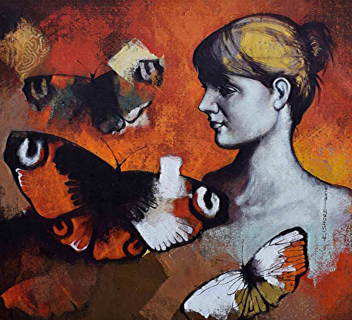 "Figurative Painting with Acrylic on Canvas ""Freedom of Beauty-1"" art by Kishore Pratim Biswas"