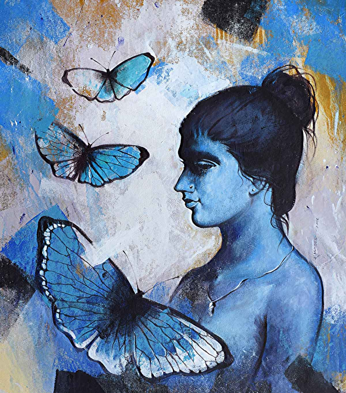 "Figurative Painting with Acrylic on Canvas ""Freedom of Beauty-7"" art by Kishore Pratim Biswas"