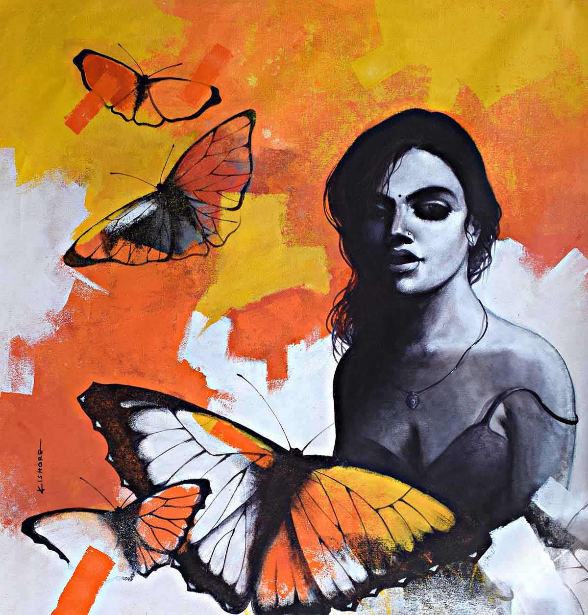 "Figurative Painting with Acrylic on Canvas ""Freedom of Beauty-16"" art by Kishore Pratim Biswas"