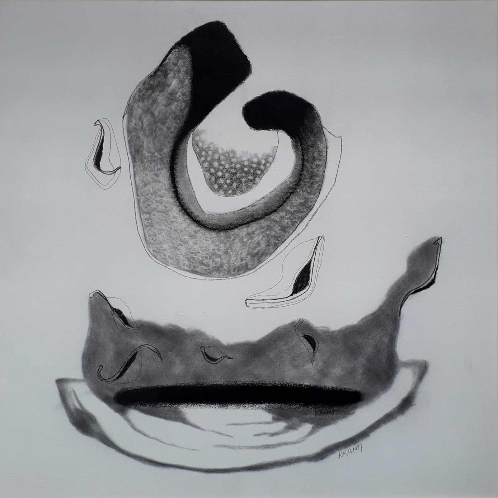 "Contemporary Painting with Charcoal on Canvas ""Untitled-11"" art by Kranti Amit Bankar"