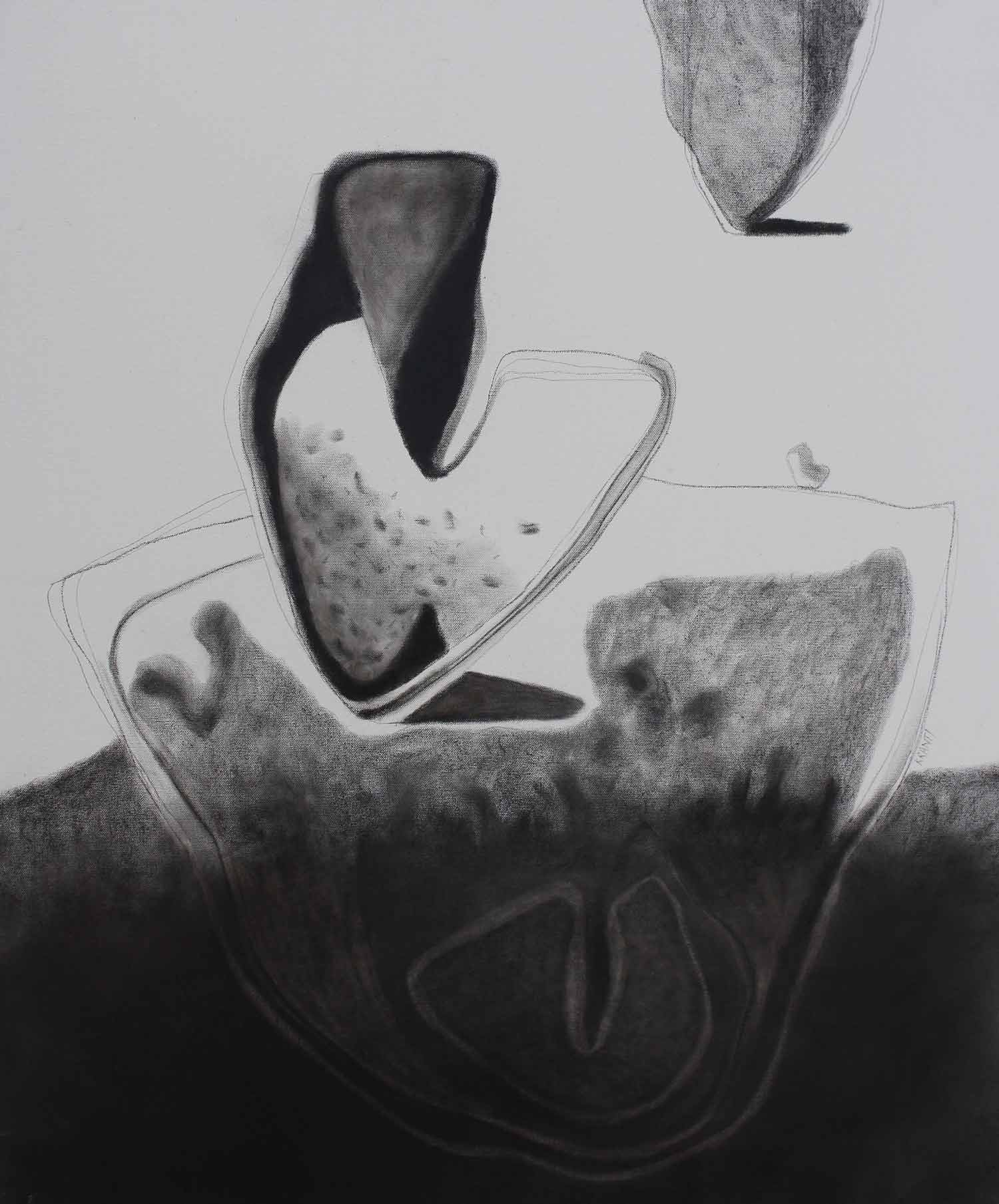 "Contemporary Painting with Charcoal on Canvas ""Untitled-4"" art by Kranti Amit Bankar"