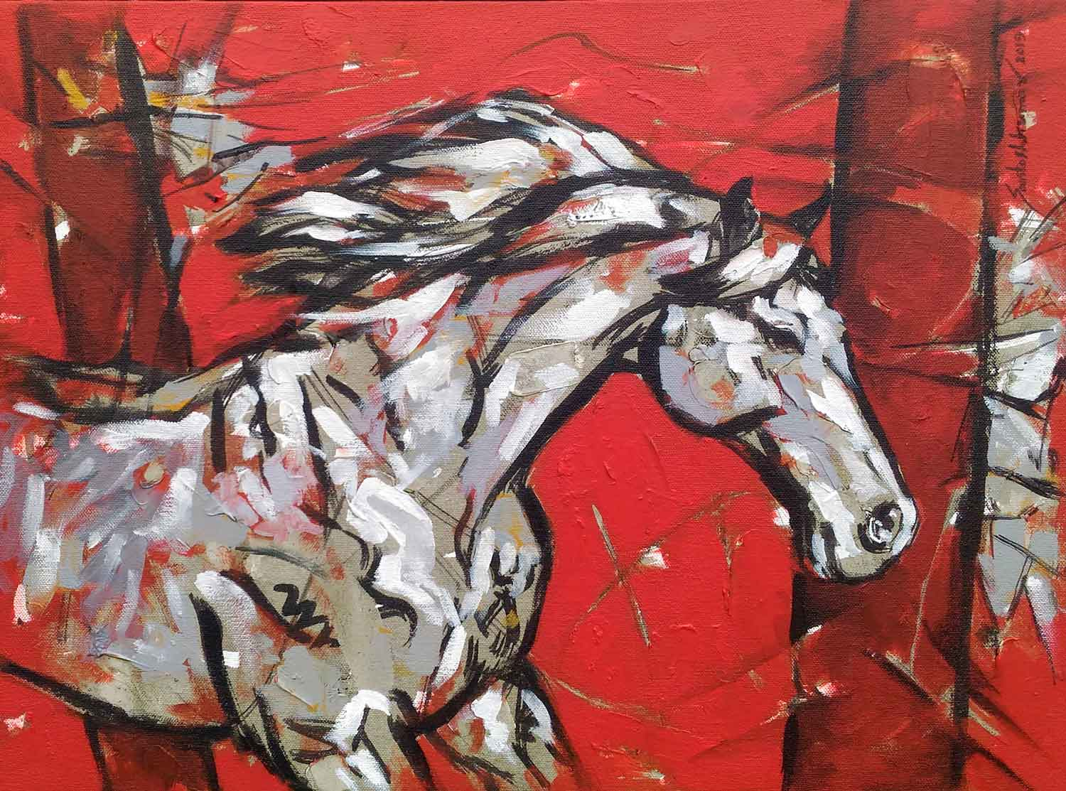 "Semi Figurative Painting with Acrylic on Canvas ""Horse-13"" art by Santoshkumar Patil"