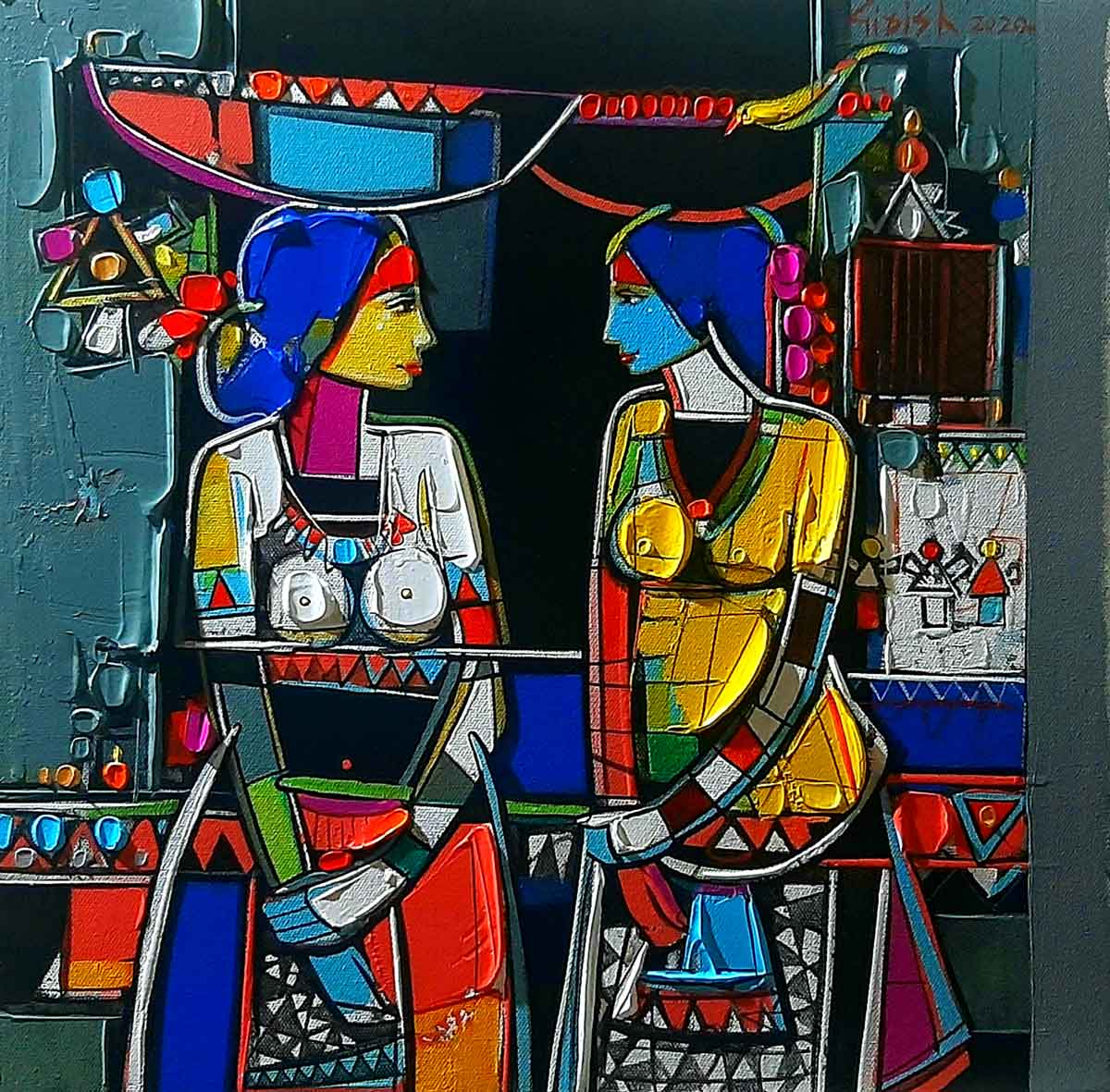 "Figurative Painting with Acrylic on Canvas ""Two Sisters-2"" art by Girish Adannavar"