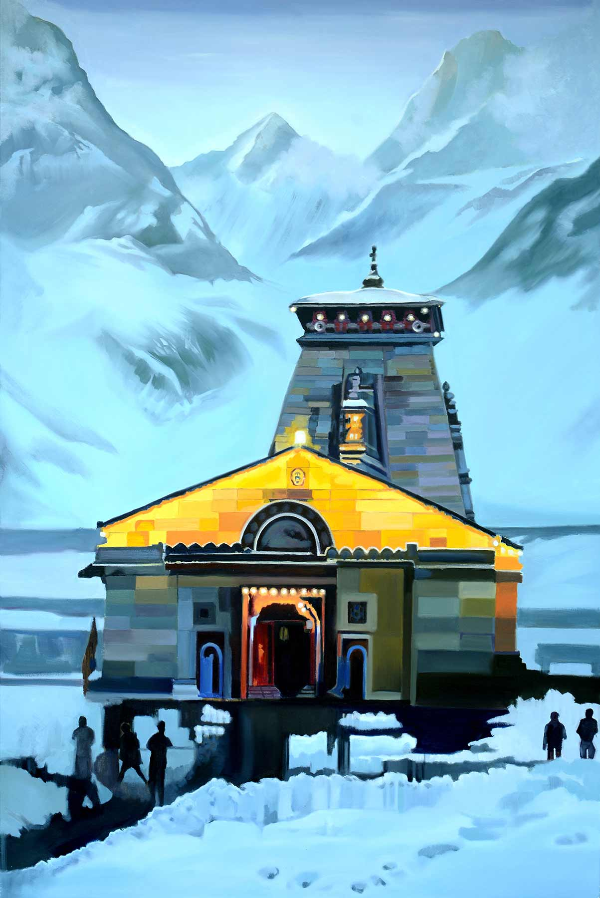 "Realism Painting with Oil on Canvas ""Kedarnath-1"" art by Sangeeta V Takalkar"