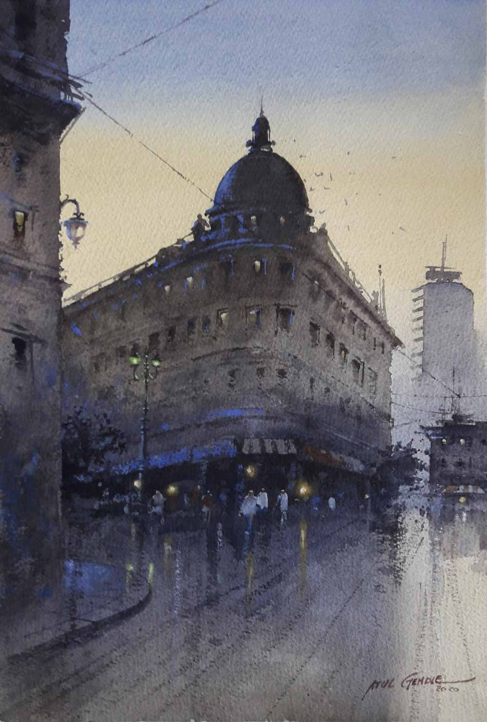 "Realism Painting with Watercolor on Paper ""Cityscape-20"" art by Atul Kishan Gendle"