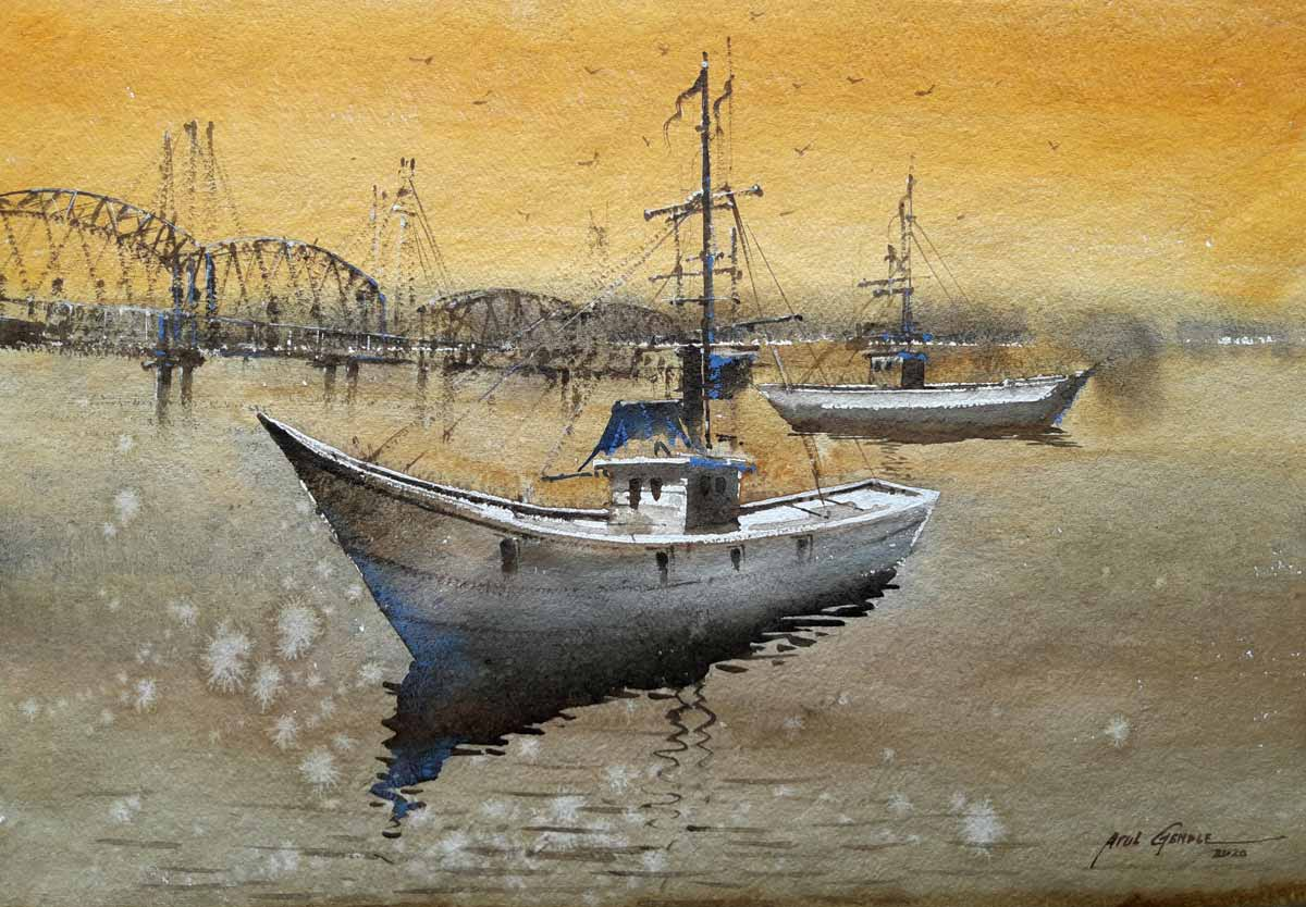 "Realism Painting with Watercolor on Paper ""A Boat"" art by Atul Kishan Gendle"