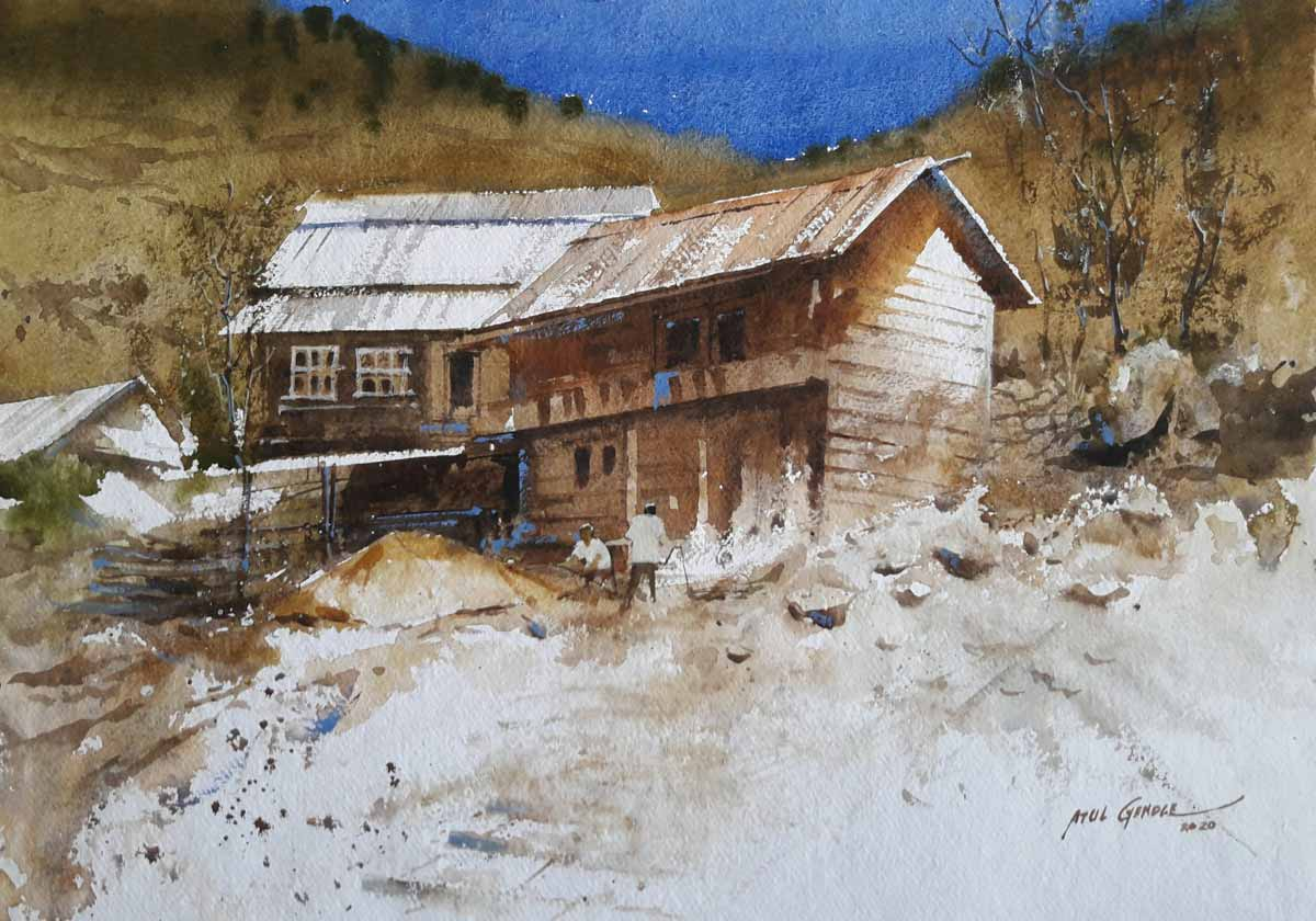 "Realism Painting with Watercolor on Paper ""Old House"" art by Atul Kishan Gendle"