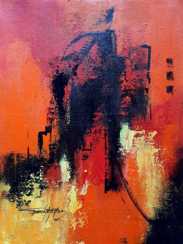"Abstract Painting with Acrylic on Canvas ""Abstract-1"" art by Ghanshyam Kashyap"