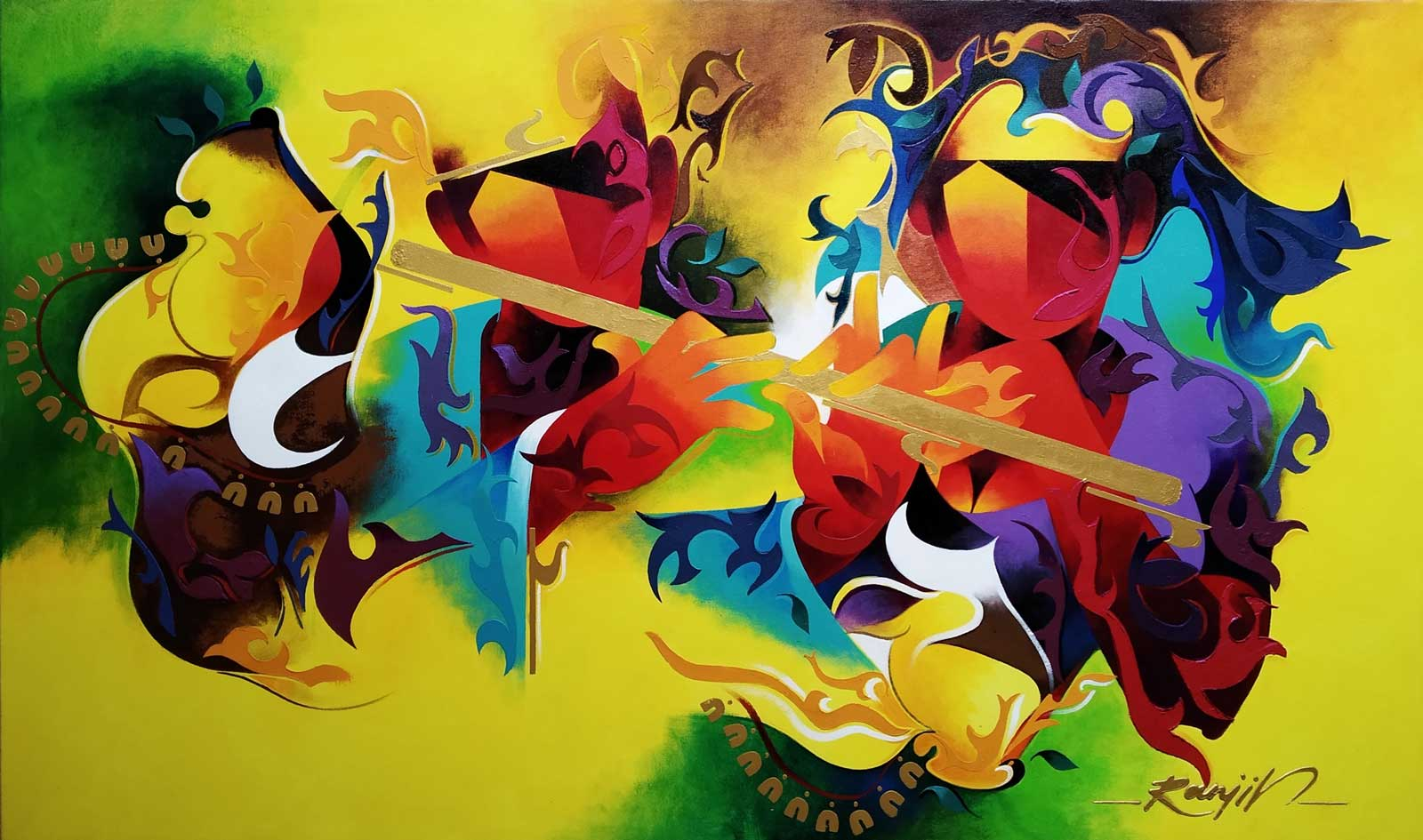 "Contemporary Painting with Acrylic on Canvas ""Joy of Music-23"" art by Ranjit Singh Kurmi"