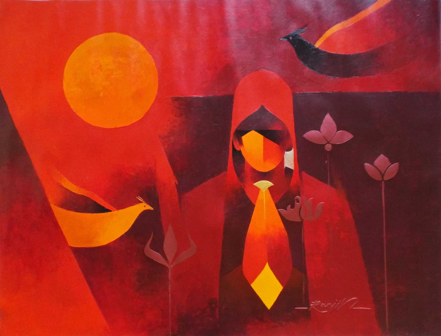 "Contemporary Painting with Acrylic on Canvas ""Blooming-7"" art by Ranjit Singh Kurmi"