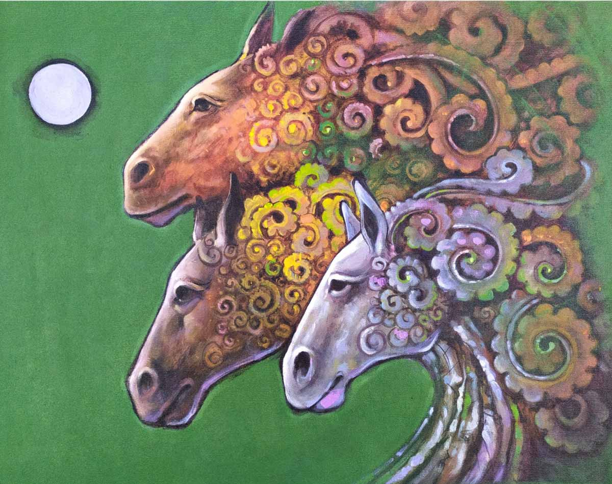 "Figurative Painting with Acrylic on Canvas ""Horse-6"" art by Mahaling R Hosakoti"